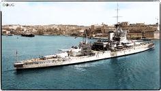 Battleship HMS Warspite entering the Grand Harbour of Valletta, Malta.