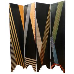 Four Panel Painted Screen | From a unique collection of antique and modern screens at https://www.1stdibs.com/furniture/more-furniture-collectibles/screens/
