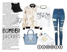 """Bomber Meow"" by poojadevkota ❤ liked on Polyvore featuring Topshop, River Island, Miss Selfridge, adidas, Karl Lagerfeld and bomberjackets"