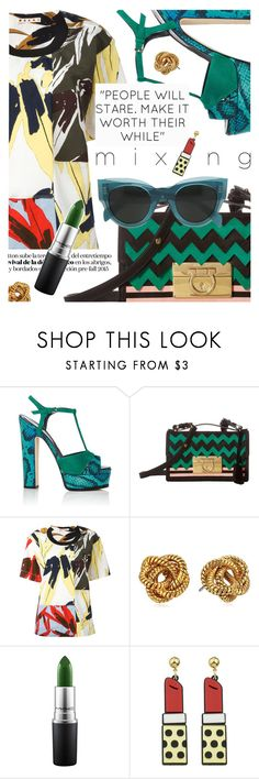 """Stay Bold: Pattern Mixing"" by cultofsharon ❤ liked on Polyvore featuring Sergio Rossi, Salvatore Ferragamo, Marni, Diane Von Furstenberg, MAC Cosmetics and CÉLINE"