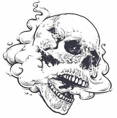 Skull with steam coming out from mouth and nose. Line art. Kunst Tattoos, Skull Tattoos, Tattoo Drawings, Body Art Tattoos, Art Drawings, Tattoo Sketches, Tattoo Ink, Graffiti, Art Du Croquis