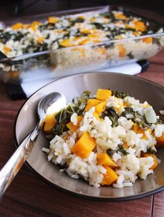 Butternut Squash & Kale Baked Risotto [Once Upon a Cutting Board]