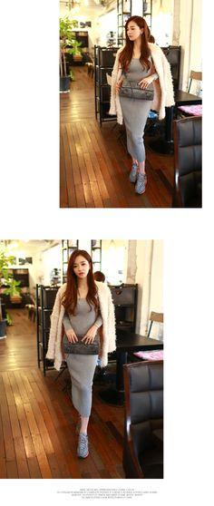 Long Scoop Knit Dress With Back Slit - I know you wanna kiss me. Thank you for visiting CHUU.