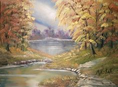 (c) Autumn Leaves by Marwan Kishek - Oil on canvas 20 Oil Paint Brushes, Autumn Leaves, Autumn Fall, Natural Scenery, Landscape Paintings, Oil Paintings, Lake View, Oil On Canvas, Colours