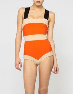 Orange and Tan Zadia Swimsuit   Roksanda Ilincic   Avenue32