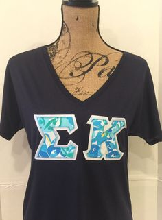 American Apparel !! LILLY PULITZER Greek Letter shirt - any letters, stitched v-neck t-shirt.