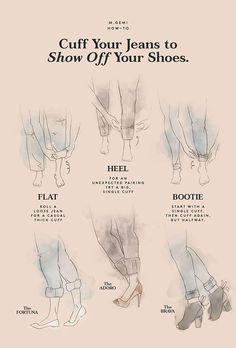 Essential style guide from M.Gemi on how to best cuff your jeans to show off your shoes.