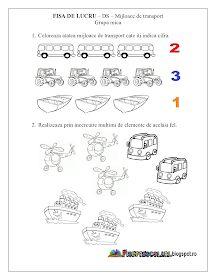 Fise de lucru - gradinita: Fise de lucru - Mijloace de Transport Grupa mica - DS - Cunoasterea mediului Preschool Education, Kindergarten Activities, 8 Martie, Kids And Parenting, Transportation, Automobile, Humor, Math, Dog