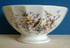 Ceramic Cafe au Lait / Coffee Bowl with Bird and Flowers Design