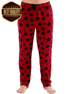 New Mens Harvey James Fleece Loungewear Pant Pyjama Bottoms S M L XL Red Blue