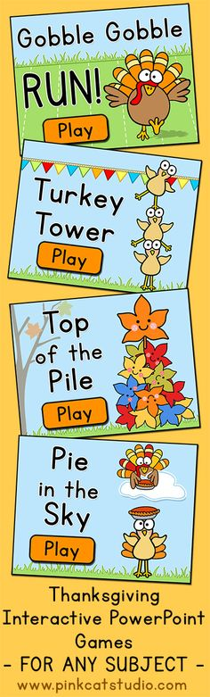 No prep required! Grab a list of questions and you are ready to play! These fun Thanksgiving theme interactive PowerPoint games make practicing review questions fun. Four exciting games are included that feature fun turkey characters, animations and sounds that your students will love. By Pink Cat Studio