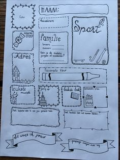 Pagina voor een vriendenboekje Diy For Kids, Crafts For Kids, Cute Notes, Make Me Happy, Teacher Gifts, Bullet Journal, Education, Sports, Ideas