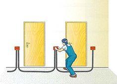 Esempio di muratura delle cassette di derivazione nel corridoio