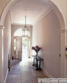 Six Fitzroy Square Hallway, terraced west London townhouse, Georgian (location works) Townhouse Interior, Georgian Townhouse, London Townhouse, Georgian Homes, British Architecture, Georgian Architecture, House Entrance, Entrance Hall, Tiled Hallway