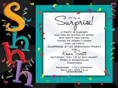 Printable or Emailable 40th Surprise Birthday Party by bugluv ...