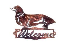 Long-Haired Dachshund Welcome Sign - CAN BE CUSTOMIZED! by VulcanixArt on Etsy