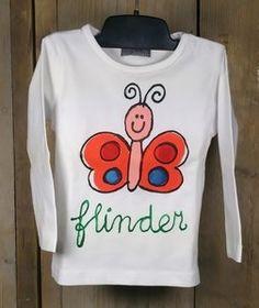 Uniek en origineel 'Babette' babyshirt flinder. Handbeschilderd baby shirtje met een leuke vlinder. Lief en grappig. Een superleuk én exclusief kraamkado!