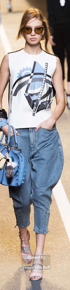 Check out the flattering shape of these jeans!  - (B. A. Snob) FENDI Collection Spring 2015 Ready-to-Wear