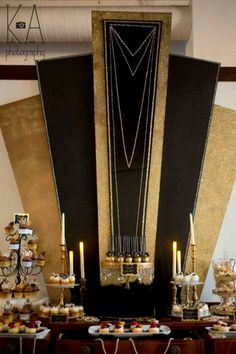This amazing Great Gatsby dessert table is full of bling and  Roaring 20s inspiration.