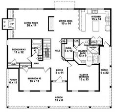 #654173 - One story 3 bedroom, 2 bath country style house plan : House Plans, Floor Plans, Home Plans, Plan It at HousePlanIt.com