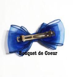 #150NEWフェミニンリボンバレッタ♡ロイヤルブルー