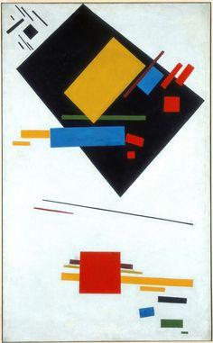 Suprematistisch schilderij met zwart trapezium en rood vierkant (1915), Kazimir Malevitsj.