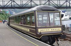 Southern Railway 'Devon Belle' Pullman Observation Car at Kingswear on the Paignton & Dartmouth Steam Railway. Electric Locomotive, Steam Locomotive, British Pullman, Pullman Train, Steam Railway, Southern Railways, Bus Coach, Train Tickets, Dartmouth