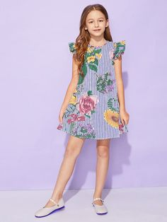 To find out about the Girls Ruffle Armhole Mixed Print Dress at SHEIN, part of our latest Girls Dresses ready to shop online today! Frocks For Girls, Kids Frocks, Cute Girl Outfits, Little Girl Dresses, Kids Outfits, Girls Dresses, Frock Patterns, Baby Girl Dress Patterns, Girls Fashion Clothes