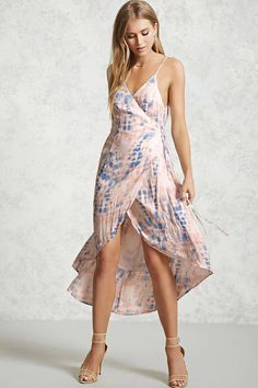 Forever 21 Contemporary - A crepe woven wrap dress featuring an allover tie-dye wash, a surplice tie-front, V-cut back, adjustable straps, and a high-low skirt with a crossover hem.