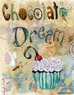 8x10 Art Print. Chocolate Dream. Artwork by Jennifer Lambein