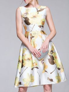 SHARE & Get it FREE | Sleeveless Flared Floral Dress - WhiteFor Fashion Lovers only:80,000+ Items • New Arrivals Daily Join Zaful: Get YOUR $50 NOW!
