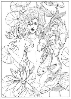 65 Super Ideas for drawing mermaid tattoo coloring pages Ausmalen Mermaid Coloring Pages, Free Adult Coloring Pages, Colouring Pages, Coloring Sheets, Coloring Books, Free Coloring, Mermaid Drawings, Mermaid Art, Art Drawings