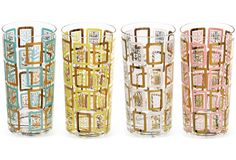 Pastel Botanical Glasses, 9 Pcs.  I love these vintage glasses!