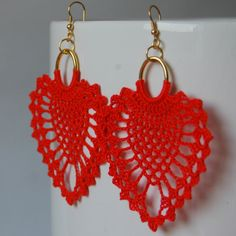 Crochet earrings - Large crochet earrings - Crochet earring jewelry - Red coral