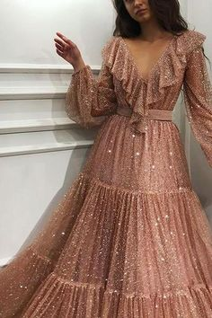 Rose Spirit TMD Gown is part of Prom dresses - Details Baby pink color Gorgeous sparkle,glittery soft tulle fabric Aline dress with long sleeves Evening,party dress Prom Dresses With Sleeves, Formal Dresses, Maxi Dresses, Long Sleeve Formal Dress, Dresses Elegant, Long Gown With Sleeves, Long Dresses, Elegant Evening Gowns, Denim Dresses