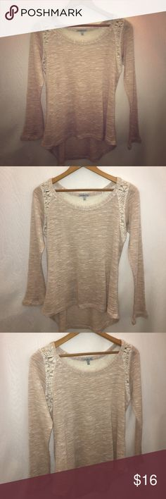 CHARLOTTE RUSSE Hi Lo Lace Trim Open Weave Sweater Women's small. Hi-lo, front-back. Sleeves feel like 3/4 length when on, but look full length on hanger. Open weave knit sweater is made with thinner thread like yarn. Cream colored lace trim at shoulders and upper back. Color of sweater is a pale pink with tan hue (much like a ballet shoe). Polyester-rayon blend. Style# HT11026. Charlotte Russe Sweaters Crew & Scoop Necks
