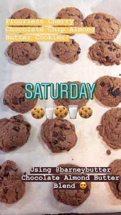 Flour-less Cherry Chocolate Chip Almond Butter Cookies Almond Butter Cookies, Tasty, Yummy Food, Chocolate Cherry, Cookie Recipes, Kitchen, Desserts, Cucina, Tailgate Desserts