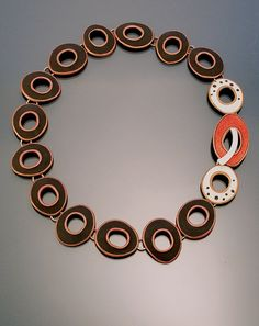 Necklace | Angela Gerhard. 'Cassadega'. Sterling silver and Vitreous enamel