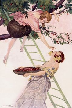 maudelynn: The Sweetest of Cherries by Leo Fontan June 1923 Vintage Lesbian, Lesbian Love, Pin Up Art, Bold Prints, Erotic Art, Vintage Posters, Graphic Art, Illustration Art, Vintage Illustrations