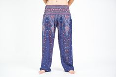 Peacock Feathers Women's Harem Pants in Blue
