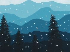 Winter art lesson: Aerial Perspective acrylic painting- Mountains in snow