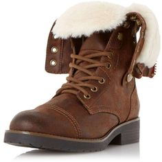 Dorothy Perkins **Head Over Heels 'Roley' Faux Fur Trim Boots ($110) ❤ liked on Polyvore featuring shoes, boots, brown, brown over the knee boots, dorothy perkins, faux fur trim boots and brown boots
