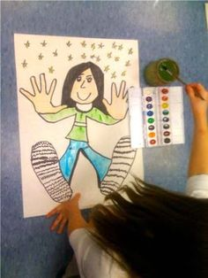 Hands and feet paintings for kids to do.  They can trace their hands, then their feet and the kids can draw the face and body to go along with it.  An awesome way for kids to make a self-portrait.
