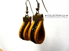 """Earrings """"Leather / Old Lace"""" n ° Jewelry by zaelleza s . Diy Earrings, Leather Earrings, Leather Jewelry, Fabric Jewelry, Beaded Jewelry, Urban Jewelry, Bracelet Cuir, Homemade Jewelry, Bijoux Diy"""