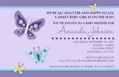 NoJo Beautiful Butterfly Digital Girl Baby Shower Invotation