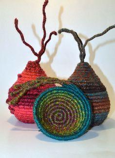 Incorporate negative space or a second medium. FIBRE ART VESSEL woven coiled textile art ooak by HeketDesigns Textile Sculpture, Textile Fiber Art, Textile Artists, Fabric Art, Fabric Crafts, Rope Rug, Fabric Bowls, Fibre And Fabric, Textiles Techniques
