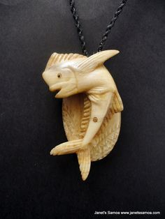 Janet's - ABOVE THE WATERS BRPM18, 289.00 AUD (http://www.janetssamoa.com/above-the-waters-brpm18/)      Samoan Fish carved from Marlin Bill     Tatau/Tattoo Design carved onto the Fish Backing     Pendant Held with Afa (Coconut Husk)