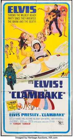 Clambake (United Artists, Three Sheet X Elvis Presley. Starring Elvis Presley, - Available at Sunday Internet Movie Poster. Old Movie Posters, Classic Movie Posters, Movie Poster Art, Classic Movies, Cinema Posters, 1960s Movies, Old Movies, Vintage Movies, Great Movies