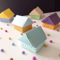 DIY : des boites en forme de maison en papier - origami