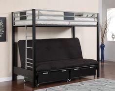 MacArthur Silver Black Twin Futon Metal Bunk Bed   Metal Bunk Beds